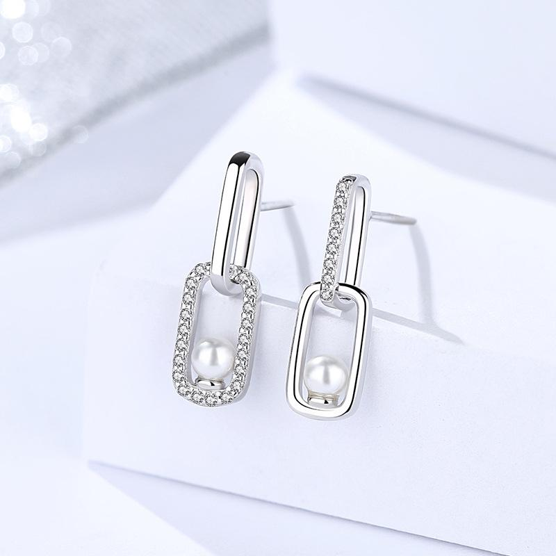 925 Sterling Silver Shell Pearl & Cubic Zirconia Earrings