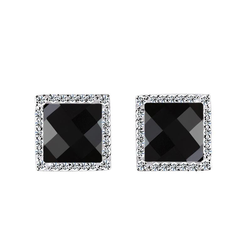 Black Qquare 925 Sterling Silver Earrings