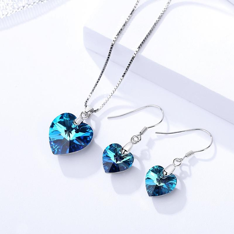 925 Sterling Silver Heart Shape Necklace and Dangle Drop Earring Jewelry Set