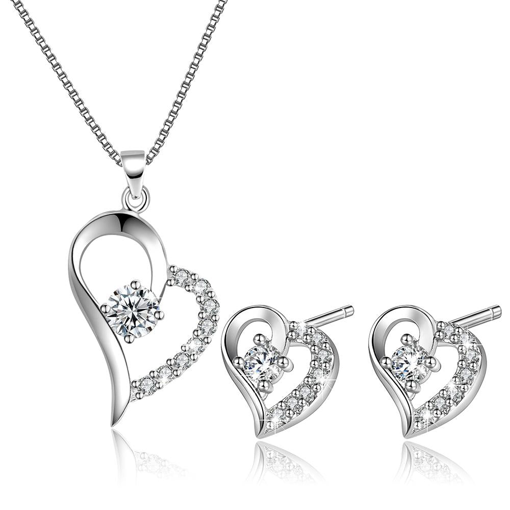 Women Love Heart Pendant Necklace Earrings Set