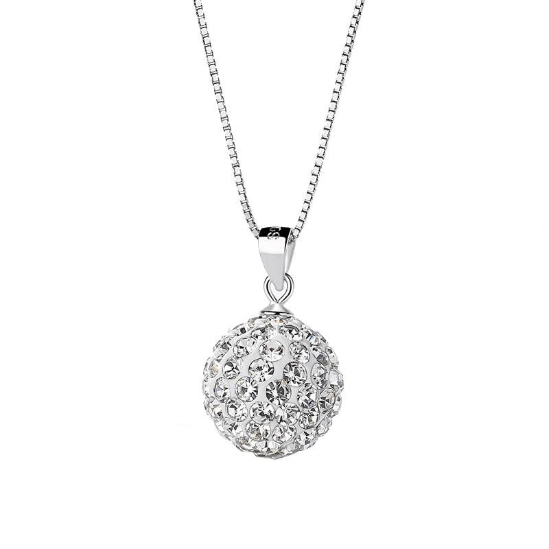 S925 Sterling Silver Chain Full Diamond Crystal Ball Sparkle Colla Pendant Necklace for Women
