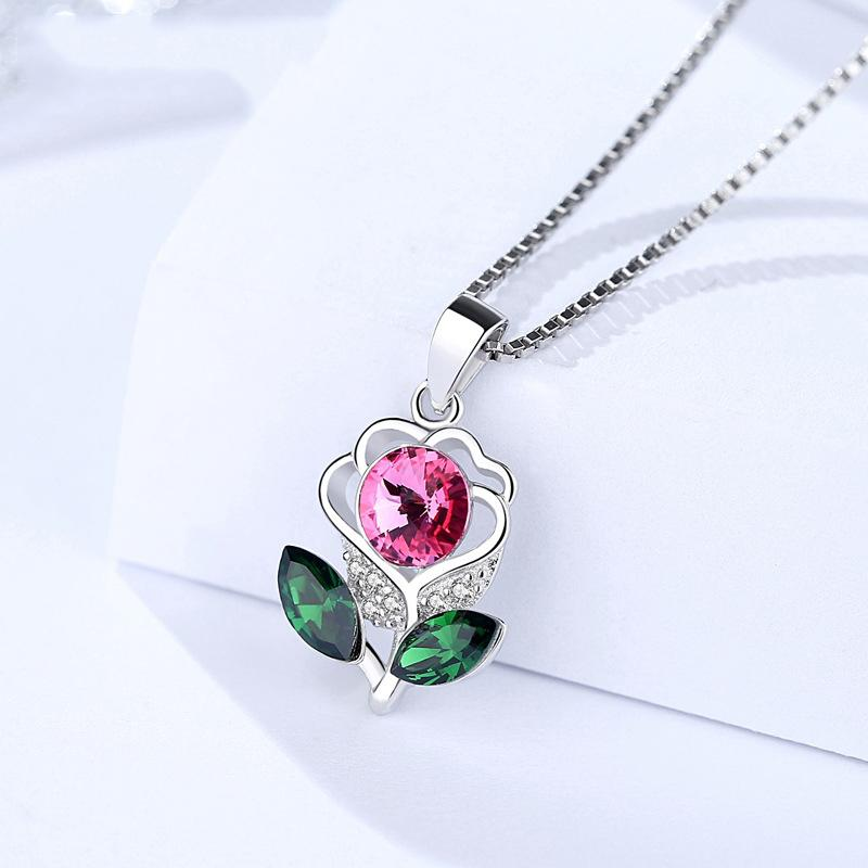 S925 Sterling Silver Sunflower with CZ Pendant Necklace Jewelry