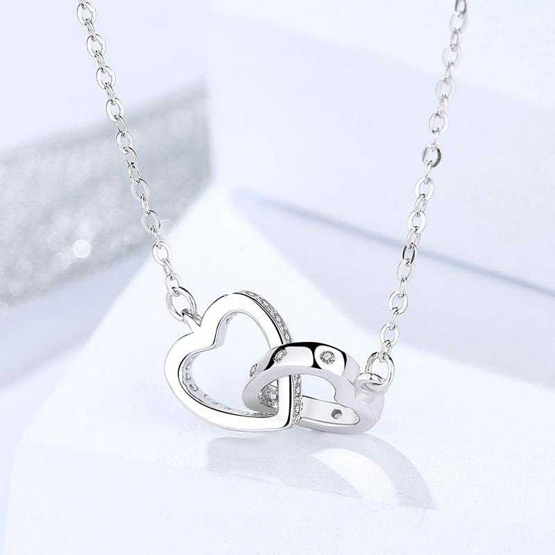 Double Heart Pendant Sliver Hypoallergenic Necklace