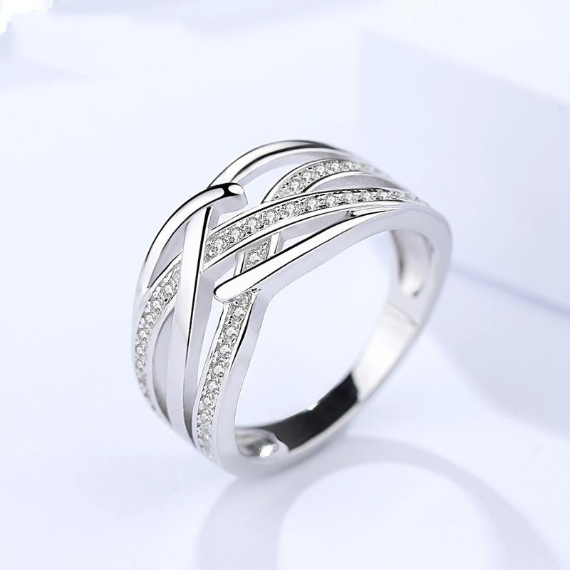 Twisted Shape Simulated Diamond Ring