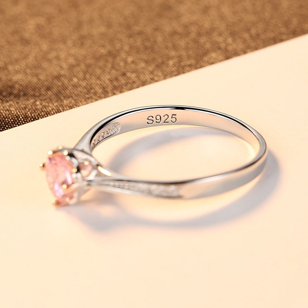 925 Sterling Silver Pink Cubic Zirconia Simulated Diamond Ring