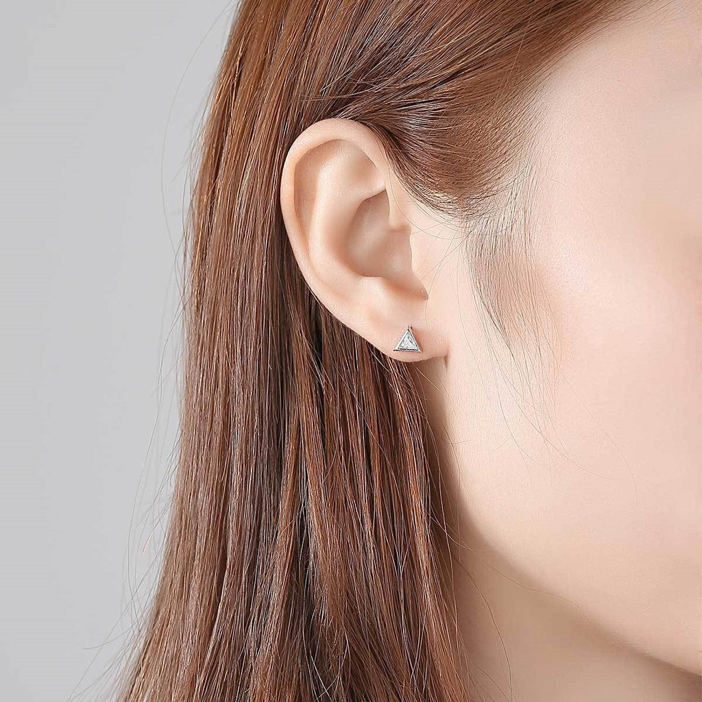 Dainty Tiny Delta Stud Earrings
