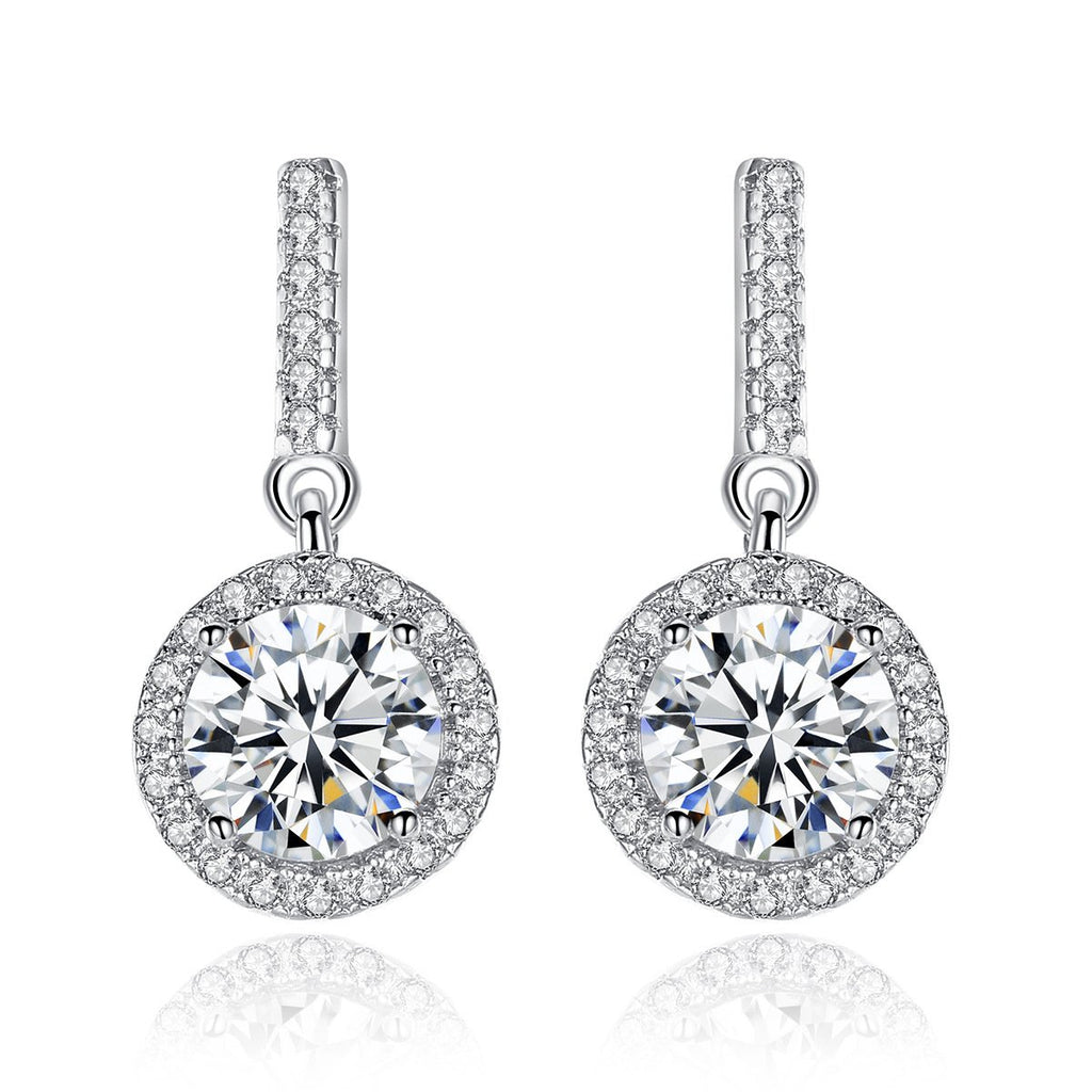 925 Sterling Silver Cubic Round  Zirconia Halo Drop Earrings for Women