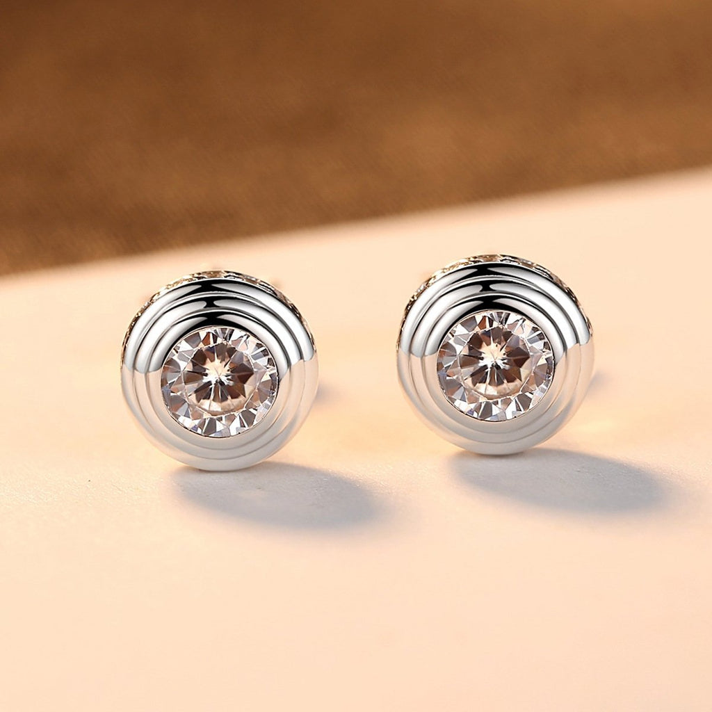 925 Sterling Silver Round Cubic  Zirconia Halo Earrings