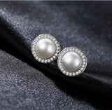 925 Sterling Silver CZ Freshwater Cultured Pearl Necklace Earrings Set