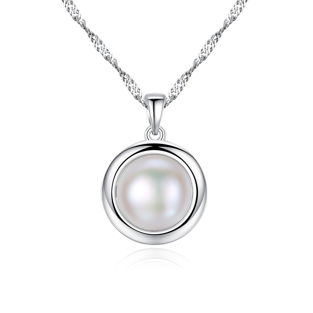 925 Sterling Silver White Freshwater Pearl Pendant Necklace