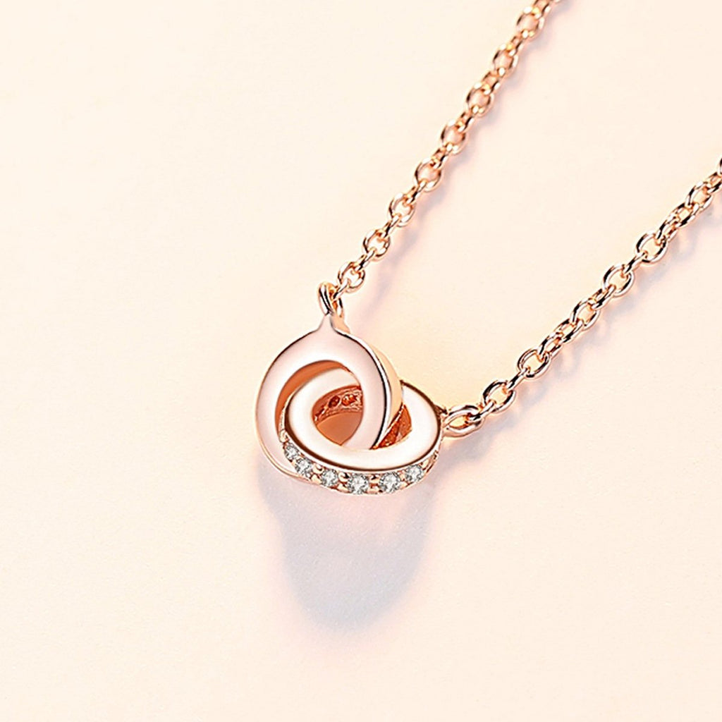 S925 Sterling Silver Two Interlocking Infinity Circles Pendant Necklace