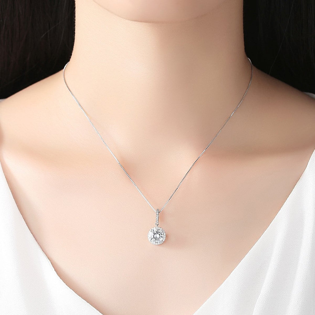 925 Sterling Silver Pendant Necklace CZ Round Jewelry