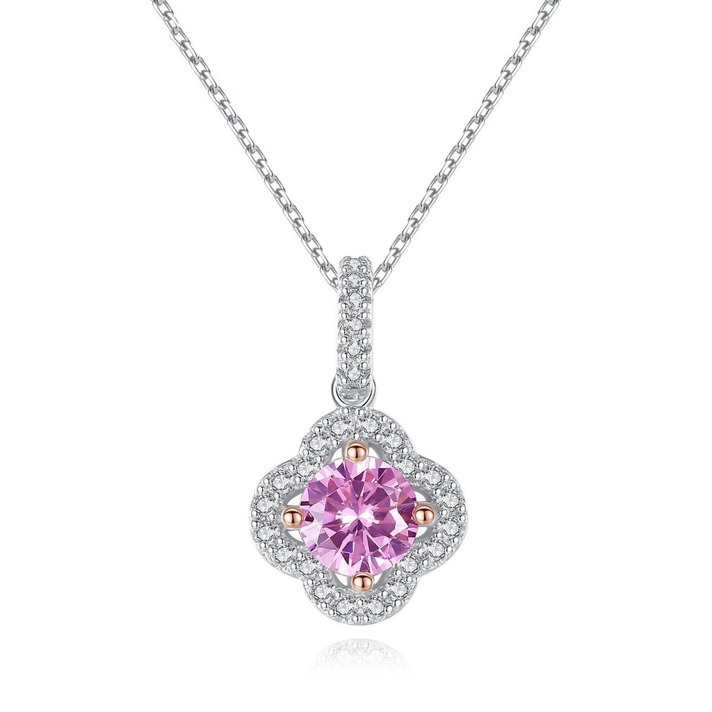 Four Leaf Clover Shape Simulated Diamond CZ Pendant Necklace