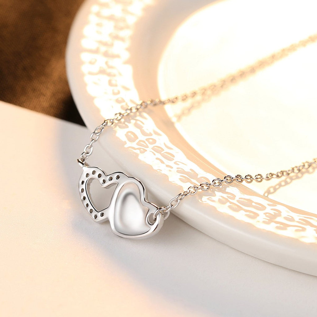 Two Hearts Necklace - Sterling Silver 2 Hearts Love Necklace,Sisters Gift