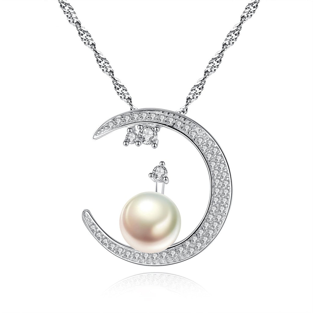 925 Sterling Silver White Freshwater Pearl Moon Pendant Necklace