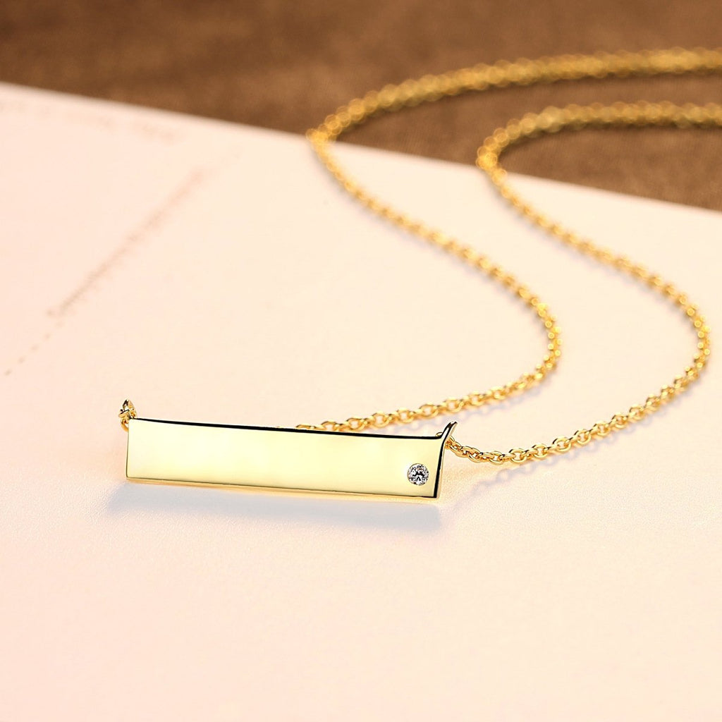 Bar Necklace Sterling Silver Minimalism Line Necklace Horizontal Bar Necklace