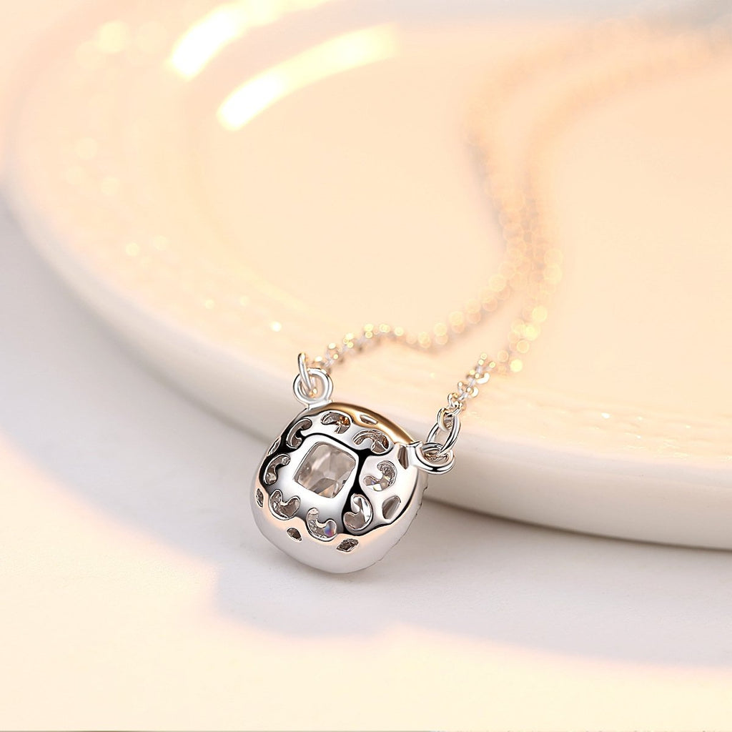 White Gold Plated Simulated Diamond CZ Round Halo Pendant Necklace