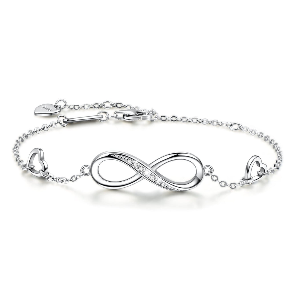 Women Infinity Love Heart Bracelet, 925 Sterling Silver Adjustable Charm Forever Bracelet for Women Girls