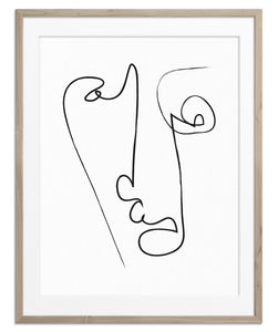 one line abstract face drawing art print poster