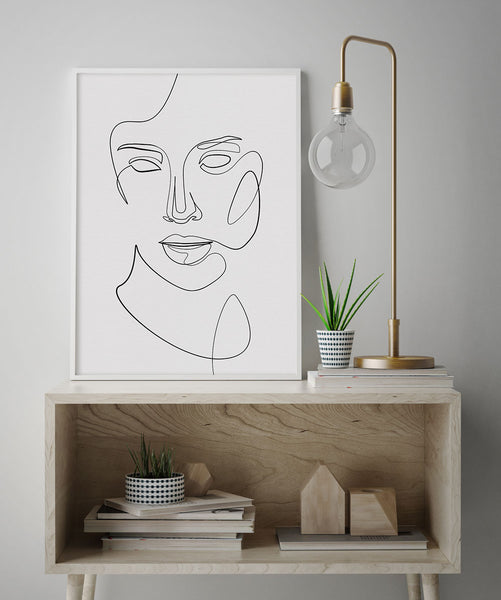 Contemporary modern fine line abstract face illustration wall art decor.