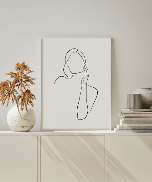 One line woman figure wall art poster
