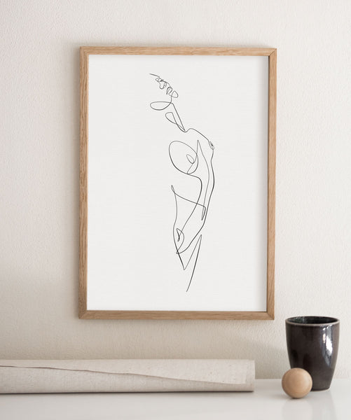Female sketch in one black line on a minimalist frame.