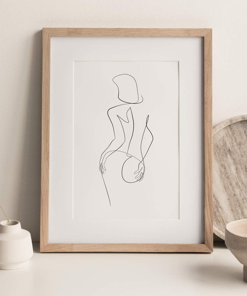 Abstract female drawing wall art print