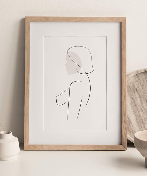 minimal woman outline drawing wall art