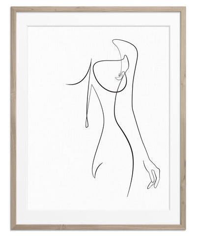 Woman line drawing art print artwork