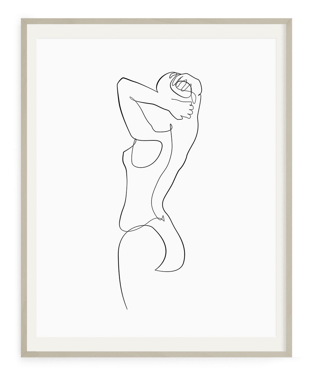 Simple woman wall art drawing printable