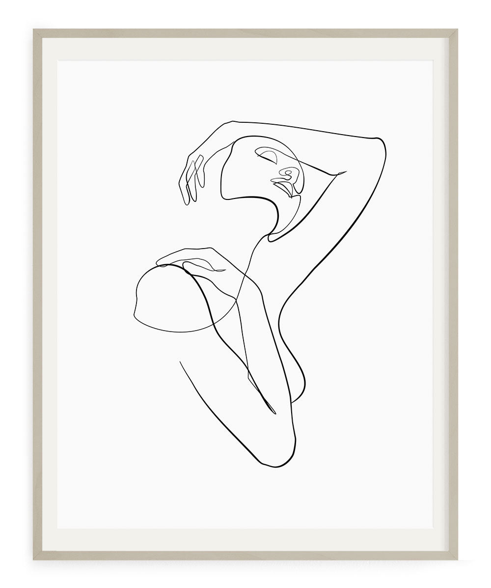 Elegant abstract woman one line drawing print