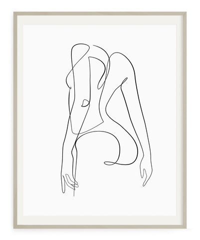 Abstract body form woman drawing print wall art