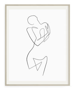 Abstract woman one line drawing print art