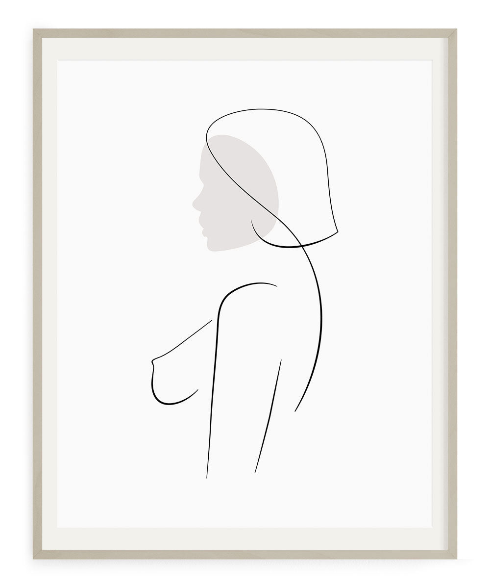 Woman simple outline drawing chic art print