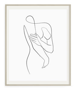 Simple and minimal woman body line art drawing printable wall art