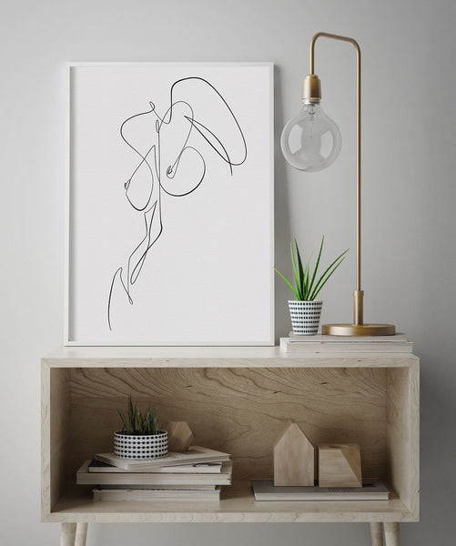 Black line woman body drawing poster artwork