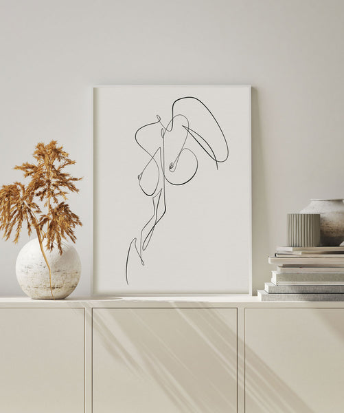 continuous single line female body wall art decor for minimalist.