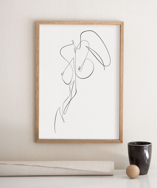 Nude one line abstract body drawing on a minimalist frame