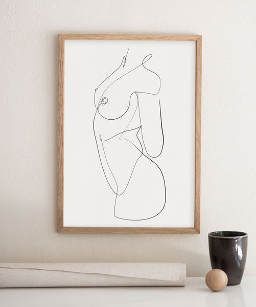 Female abstract anatomy body line art decor.