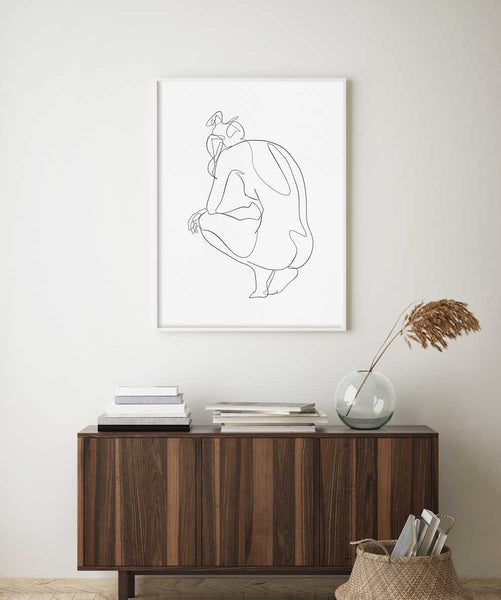Contemporary female body in a white frame, contemporary wall art