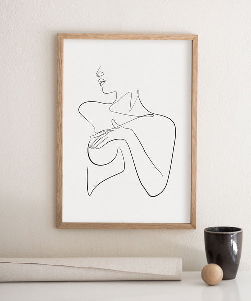 Single line female body drawing wall art print