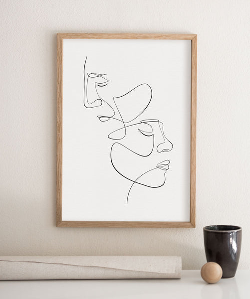 Two face man and woman one line drawing wall art print