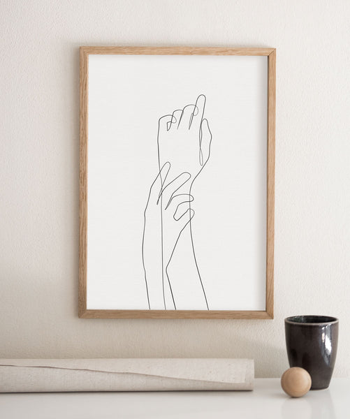 Modern minimalist wall art hand and arm figure drawing one line illustration canvas wall art.