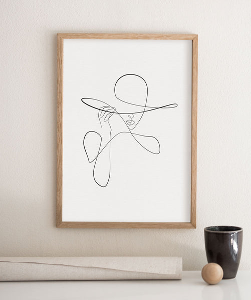 Minimalist fashion print of a female sketch in a line art illustration- poster wall art