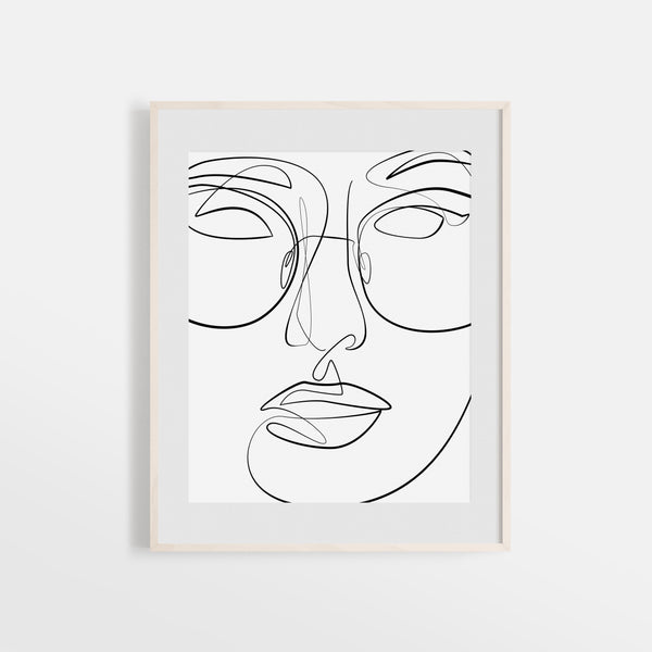 Minimalist fashion sun glasses line art print