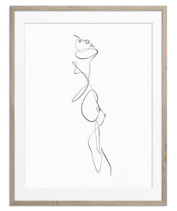 abstract female body exotic line art print poster