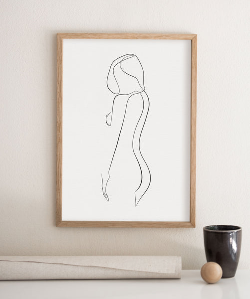 Nudist woman art drawing in photo frame poster.