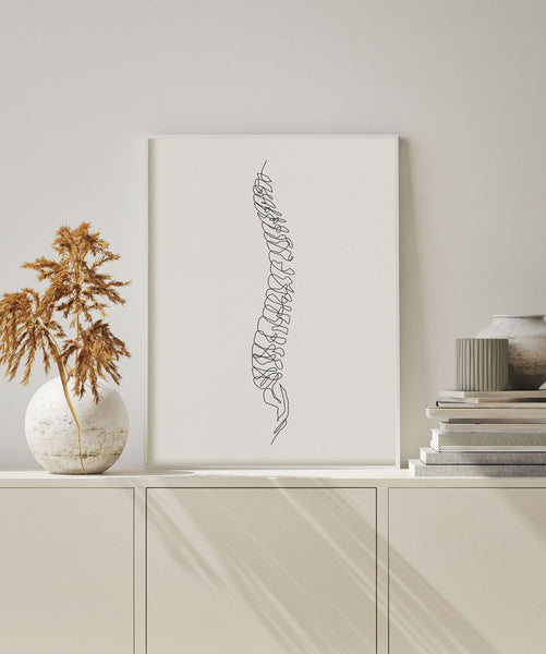 One line human spinal cord skeleton illustration for wall decor gifts