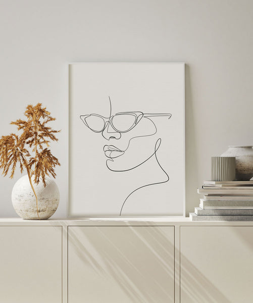 Boho minimal chic wall art decor fashion sunglasses artwork.