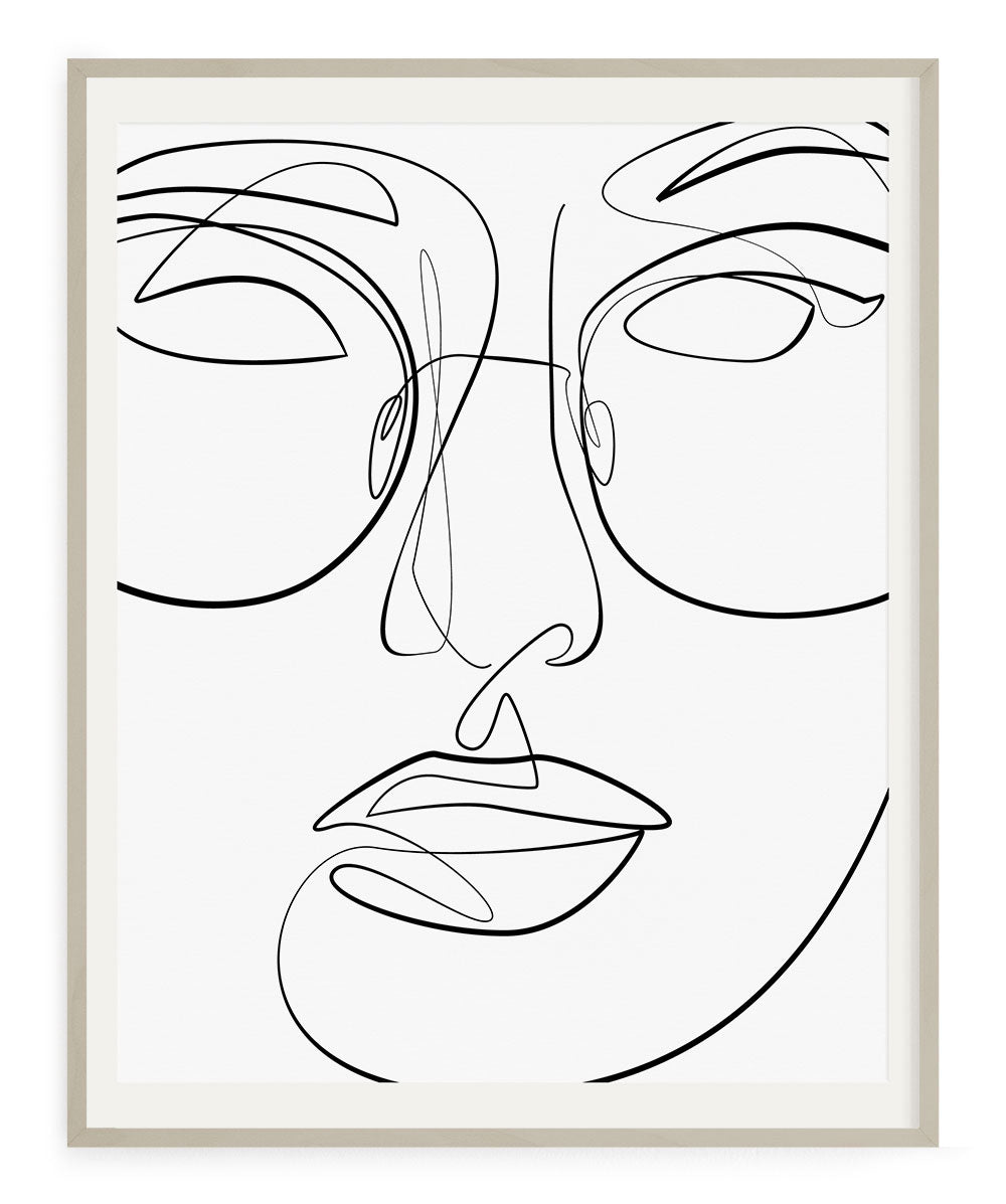 One line face illustration sun glasses wall art decor